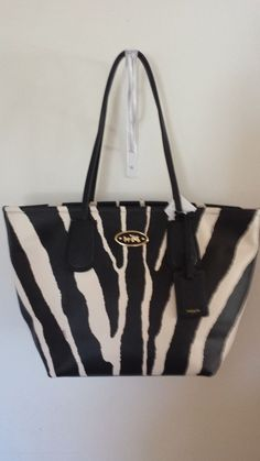 New Large Coach handbag.Zebra embossed leather Taxi Tote. With tag,box,receipt. in Clothing, Shoes & Accessories | eBay