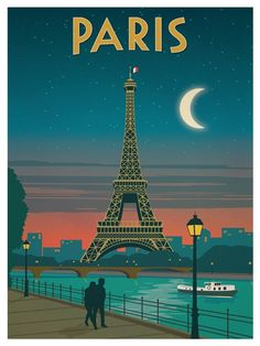# Vintage Travel Posters 'Vintage poster - Paris' Poster by mosfunky Posters Paris, Posters Decor, Art Deco Posters, Retro Posters, Dorm Posters, School Posters, Vintage Paris, Retro Vintage, Retro Pop