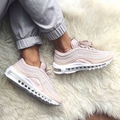 The super stylish Nike Air Max 97 sneaker in barely rose (pink). Luxury shoe and super comfortable.