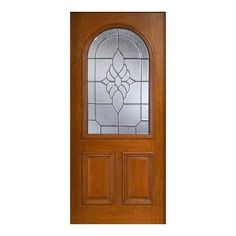 Main Door 36 in. x 80 in. Mahogany Type Prefinished Cherry Beveled Patina Roundtop Glass Solid Wood Front Door Slab