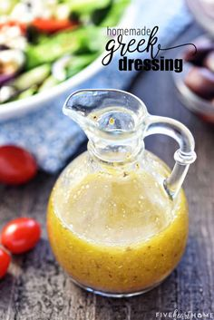 Homemade Greek Salad Dressing Recipe ~ tangy, easy to make, and delicious drizzled over a Greek sala Cucumber Salad Dressing, Salad Dressing Recipes, Greek Cucumber Salad, Greek Salad Dressings, Dressing For Greek Salad, Easy Greek Dressing Recipe, Couscous Salad Dressing, Greek Salad With Chicken, Easy Greek Salad Recipe