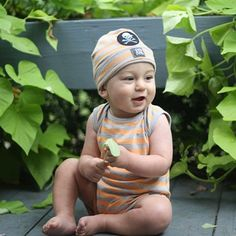 KidCuteTure Orange Silver Stripe Romper Bodysuit Baby Boys 3-18M