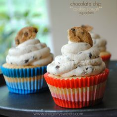 Chocolate Chip Cupcakes topped with an egg-free Chocolate Chip cookie dough frosting