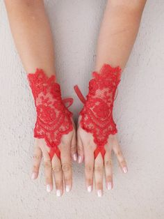 love red french lace gloves fingerless glove free by WEDDINGHome, $25.00