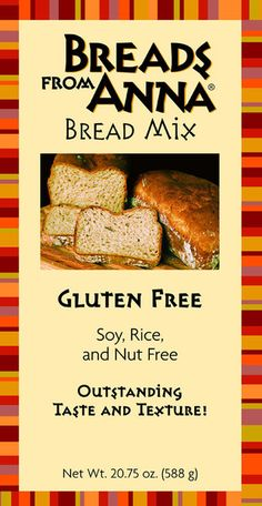 Gluten Free Bread Mix - Gluten, Soy, Nut (including peanuts) and Rice Free Bread Mix. Breads From Anna® has exceptional gluten free bread mixes created by chef, Anna Sobaski, out of several distinctive gluten free grains. #glutenfree