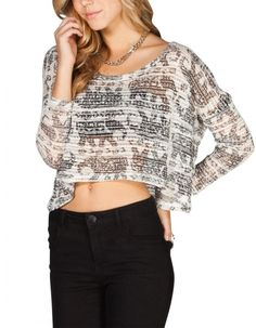 Women's #Fashion Clothing: Blouses, Tops, Sweaters and Shirts: FULL TILT #Elephant Print Womens Black and White Dolman Crop #Top: Clothes