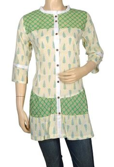 Pin It :-) Follow Us :-))  azDresses is your  Dresses Product Gallery.  CLICK IMAGE TWICE for Pricing and Info :) SEE A LARGER SELECTION of  shirt  dresses at http://azdresses.com/category/dress-categories/dresses-by-type/shirt-dress/ -  women, womens fashion, dress, womens dresses, shirt dress - Indian Cotton Designer Kurta Womens Clothing -Handmade Block Print Kurti-Block Prited Work Top Tunic Size S « AZdresses.com