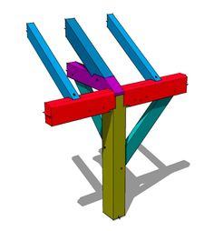 Tie Beam to Plate Tying Joint - As its name implies this tying joint, joins together a tie beam, plates, rafter and posts all in a compact structurally sound way.  It utilizes a spline to tie the plates together and traditional mortise and tenon joinery to complete the rest of the joinery.  http://timberframehq.com/timberframeconstructiondetails/tie-beam-plate-tying-joint/