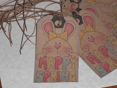 21 Primitive Easter Bunny Rabbit Happy Spring Hang Tags Gift Ties Ornies  #Bunny