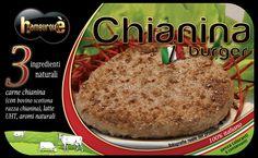 Packaging Chianina i-Burger Hamburger surgelato Ingredienti: carne chianina (con bovino scottona razza chianina), latte UHT, aromi naturali
