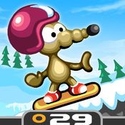 """Rat On A Snowboard - RAT ON A SNOWBOARD is a fast-paced, arcade style snowboarding game and part of the ever-popular """"Rat on"""" series. Controls are really simple, which makes it perfect for gamers of any age, but the roads ahead are not only filled with bonus items, but some challenging obstacles as well."""