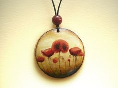 Painted Poppies, Poppy Flower Pendant, Necklace, Miniature Art, Arts and Crafts. $27.00, via Etsy.