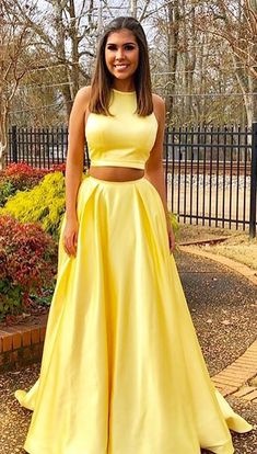 Two Piece Prom Dresses,Yellow Prom Dresses,Long Prom Dress with Pockets,2 Pieces Evening Dresses,Simple Prom Gown #yellow #twopieces #satin #long #okdresses
