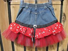 Denim Tutu Skirt Recycled Jeans Size 5T by PureReflections