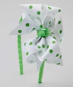 This White & Green Polka Dot Double-Layer Ribbon Bow Headband is perfect! #zulilyfinds