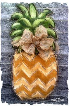 Pineapple Burlap Chevron Door Hanger by SassyFrassOriginals, $40.00