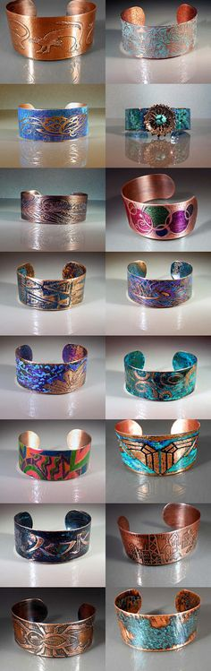Ready to Ship Hand Forged & Etched Copper Cuff Bracelets by StudioVdesigns.etsy.com