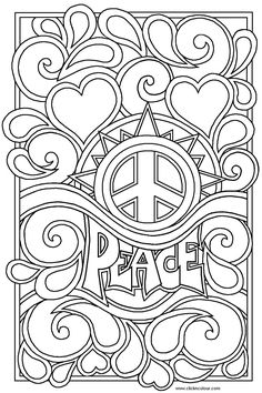 Heart Coloring Pages For Teenagers | peace and love Colouring Pages