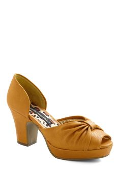 Trend to Show Off Heel by Bait Footwear - Mid, Solid, Peep Toe, Chunky heel, Yellow, Party, Platform, Vintage Inspired, 40s
