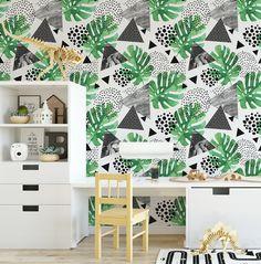 Tropical Monochrome Watercolour Wallpaper