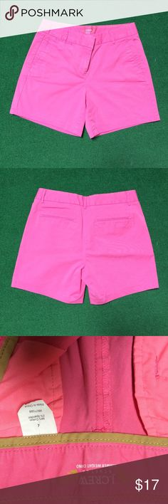 J. Crew hot pink summer weight stretch shorts Hot pink summer chino stretch shorts. Pair these adorable pink shorts with a chambray shirt for the perfect preppy look, or style them up for a day on the golf course, you can't go wrong! J. Crew Shorts