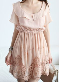SheInside : Pink Scoop Neck Short Sleeve Off the Shoulder Hollow Chiffon Dress $46.08 - This dress is so pretty~! <3
