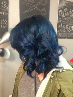 Beautiful dark teal blue hair using pravana vivids
