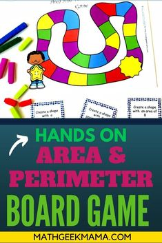 Looking for a new way for kids to practice area and perimeter of rectangles? Build shapes and learn in a fun way with this free area and perimeter easy math game! This is a free math printable game that is perfect for 4th grade math and 5th grade math! Easy Math Games, Math Card Games, Kindergarten Math Games, Teaching Math, Maths, Free Math Worksheets, Math Resources, Area And Perimeter Games, Educational Activities For Kids