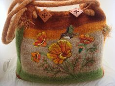 Felted Extra Large Tote Sachel Purse Poppies by FeltedFantasies, $325.00