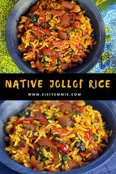 Rice Recipes, Healthy Dinner Recipes, Cooking Recipes, Cookbook Recipes, African Rice Recipe, Jollof Rice Nigerian, Nigeria Food, Rice Dishes, Rice Bowls