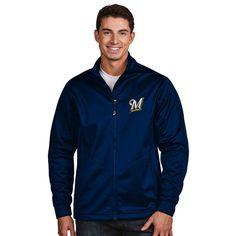 Milwaukee Brewers Antigua Golf Full-Zip Jacket - Navy