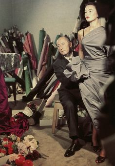 Dior in his studio with house model, Sylvie Hirsch