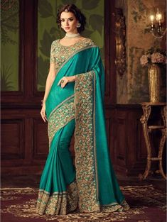 a2ae1596e1 Buy latest saree designs, designer indian outfits like fashion saree. Order  this modish green traditional saree for festival, party and wedding.