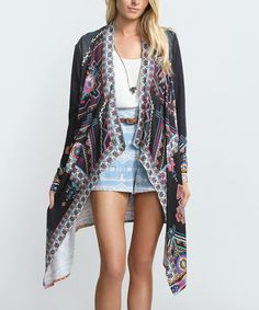 Look at this Black & Teal Geometric Open Cardigan on #zulily today!