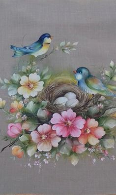 China Painting, Tole Painting, Fabric Painting, Painting & Drawing, Watercolor Paintings, Fabric Paint Designs, 3d Quilling, One Stroke Painting, Bird Artwork