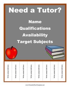 The background of this free, printable tutoring flyer is a chalkboard and it is great for graduate students, professors and teachers who are experts in certain subjects. Free to download and print