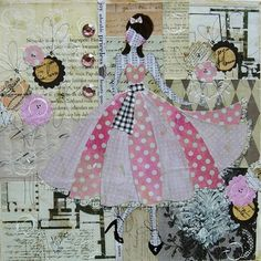 Girl in the Pink Dress, Julie Nutting Designs Mixed Media Canvas, Mixed Media Collage, Collage Art, Art Journal Inspiration, Creative Inspiration, Paper Dolls, Art Dolls, Collages, Prima Doll Stamps