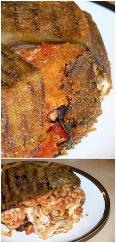 Timballo di anelletti alla siciliana Una fresca pasta al forno con melanzane, mozzarella basilico e sugo di pomodori freschi