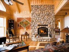 Image result for log cabin fireplace