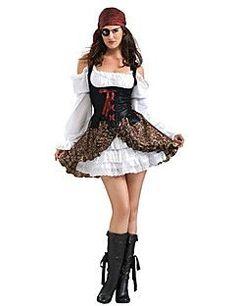 ba38f7f20 fantasia de pirata feminina de vestido branco com sobreposição preta Roupa  De Pirata Feminina
