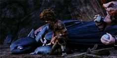 the guardian of dragons : Hiccup rubbing Toothless' paw {x} requested by...