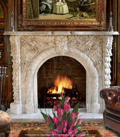Marble Mantels | Fireplace Mantles | Marble Fireplaces | Hearths | Mantels | Custom Designed Grape Archway Marble Mantel  Grape Archway Marble Mantel  MFP-146