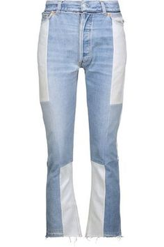 RE/DONE WOMAN HIGH-RISE TWO-TONE DISTRESSED FLARED JEANS MID DENIM. #re/done #cloth #