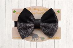 Fabric Bow Headband, Fabric Bow Clip-on || Black and Grey Plaid Flannel Fabric Bow on Black Elastic Band or Clip Mounted by mamasluckyelephant on Etsy