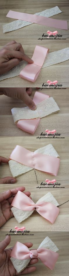 How to make a bow...for a child's hair barrette, etc. the writing is in a different language, but the pictures are explanatory enough