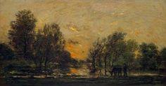 Charles François Daubigny, Barbizon, Sunset, oil on panel