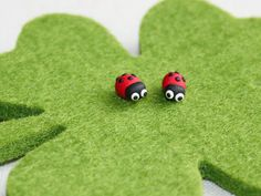 Ladybug Studs Earrings polymer clay by LittleDipperShop on Etsy, $10.00