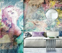 A pastel wall mural depicting Anthony Van Dyck's Rinaldo Conquered By Love for Armida. The charm of watercolour is combined with graffiti by customising a classic image with a wash of rich pastels.