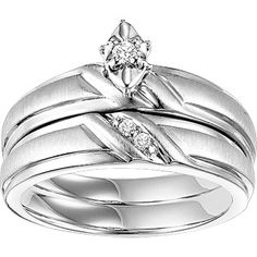 1/20 Carat T.W. Diamond Sterling Silver Bridal Set