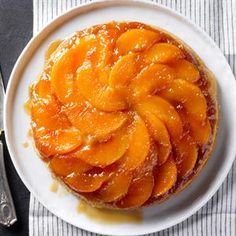 Southern Peach Upside Down Cake Recipe -A dear friend from the South gave me the idea for this peachy cake. I add bourbon and top each slice with vanilla or cinnamon ice cream. —Trista Jefferson, Batavia, Ohio